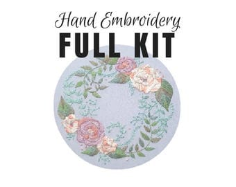 Hand Embroidery DIY Kit: Muted Delicate Roses - Stitching Tutorial- Hand Dyed Silk Thread - Modern Contemporary Embroidery Design - Hoop Art