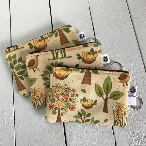 Change Purse | Nature, tree of life, quail, Credit Card Holder,  Zipper Pouch, Cotton