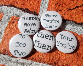 25mm/1 inch button pin badges: grammar range.  collectable, quirky badge, unusual, party favours, collectable badges