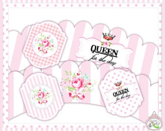 Queen for the Day-Cupcake Wraps & Toppers-Plain and Theme-Party Printable-Birthday-Mothers Day-Mom-Pink-Bridal Shower-Shabby Chic Parties