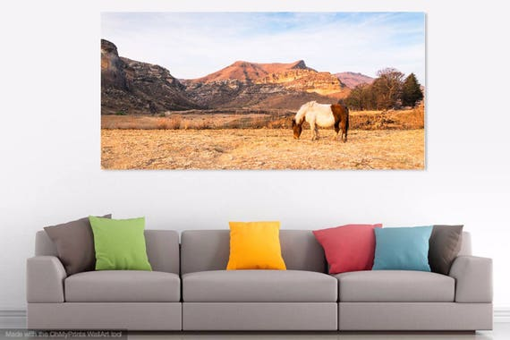 GOLDEN GATE PARK. South Africa Print, Landscape Print, Horse Photography, Limited Edition Print