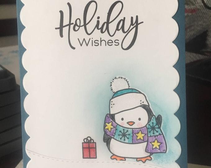 Handmade Card, Stamped Card, Christmas Card Set, Holiday Card Set, Christmas Card Set, Holiday Card, Penguin Card