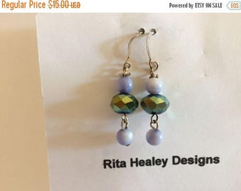 ON SALE Drop Earrings, EAR 35, Reflective Mauve & Blue/Green Crystal and  Smokey Blue Glass Beads