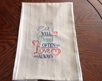 Kitchen towel with Machine Embroidered Design
