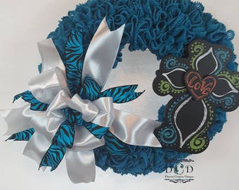 Turquoise Ruffle Cross Wreath Burlap Wreath Cross Wreath Burlap Cross Wreath Spring Burlap Wreath Everyday Wreath Ruffle Wreath Bow Wreath