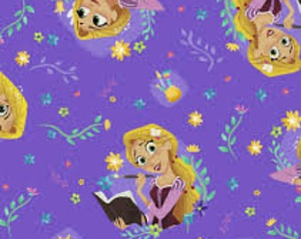 "Rapunzel Toss on purple by Springs Industries, 43-44"" wide, 100% cotton, by the half yard"