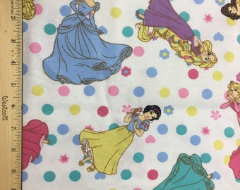 "Princesses and polka dots, by the half yard, 42"" wide cotton flannel, disney fabric, princess fabric, flannel fabric, cartoon fabric"