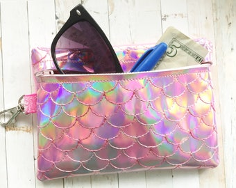 Holographic Mermaid pouch - Mermaid Scales Zippered Pouch - Sunglasses Pouch -  Glam Planner Pouch - Mermaid Tail - Accessories Pouch