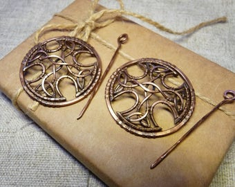 Handcrafted celtic brooches Wire wrapped brooch Celtic brooch Copper brooch Celtic style Celtic cross Medieval brooch Set of two brooches
