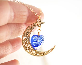 Gold Crescent Moon Necklace Fairytale Gift Gold Moon Blue Heart Necklace Cobalt Blue Moon Pendant dainty Tiny Fine Gold Chain Lampwork Glass