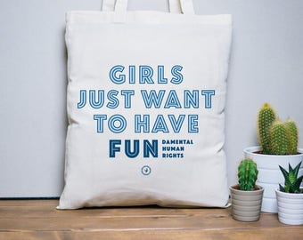 Tote Bag Girls Fun, sac en coton, sac en toile, sac de courses, sac de plage, citation humoristique, typographie, message