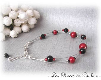 Red and black wedding collection 'Tradition' Marjorie two row bracelet