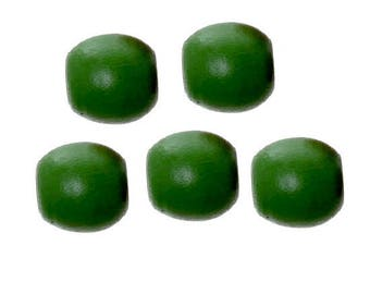 set of 5 large drum green 17 mm x 16 mm wooden beads