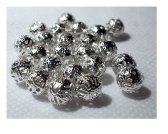 set of 20 filigree openwork beads color silver 10 mm