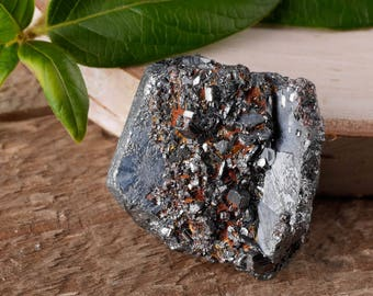 One Small HEMATITE Crystal with RUTILE - Raw Hematite, Hematite Stone, Healing Stone, Healing Crystal, Rocks and Gems Rocks & Minerals E0474