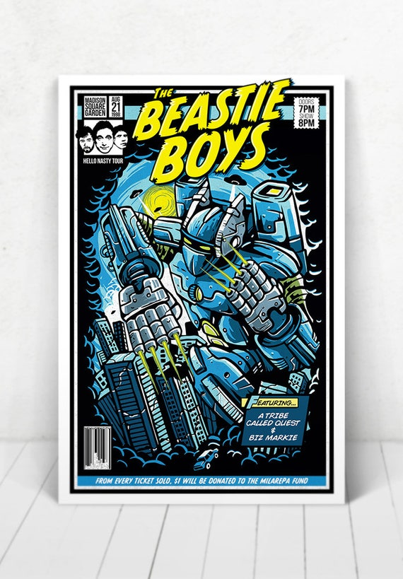 The Beastie Boys Concert Poster - Illustration [The Beastie Boys / Madison Square Garden New York, NY - Aug. 21, 1998]