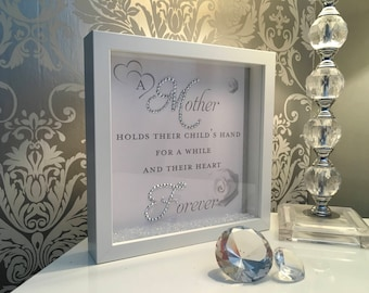 Beautiful Mother hold their child's hand with white roses, 3D glitter box frame.