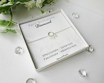 Birthstone bracelet, dainty bracelet, birthstone gift, gifts for her, April birthstone, minimal jewellery, crystal bracelet, gifts for mum.