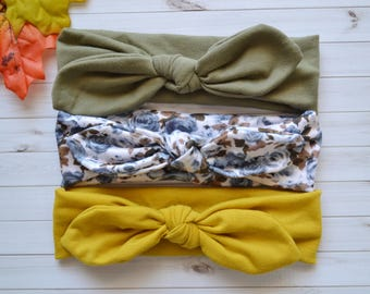 Set of 3 Fall Head wraps, newborn baby infant headband, baby headband, newborn photo prop, toddler headband, knotted headwrap