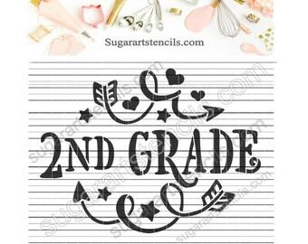 2nd grade School cookie stencil NY0153