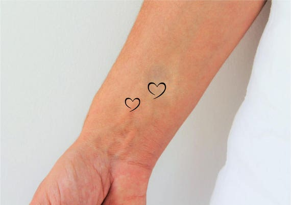 heart temporary tattoos set of 2 heart tattoos tiny. Black Bedroom Furniture Sets. Home Design Ideas