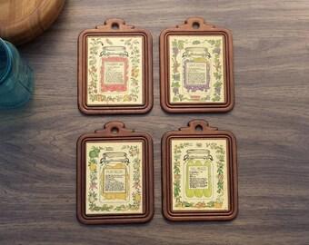 Great Vintage Wooden Plaques, Antique Wall Art, Set Of 4, Rustic Decor, Kitchen Part 22