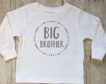 Big Brother Shirt-Big Brother Shirt Est. 2018-Big Brother Announcement-New Brother Shirt-Pregnancy Reveal-Shirt-Long Sleeved Tee-bodysuit