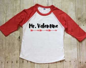 Boys Valentine Shirt-Mr. Valentine Shirt-Red Raglan Sleeve Shirt-Toddler Valentine Shirt-Black Raglan Valentine Shirt-Made in USA