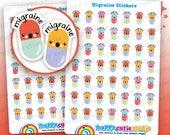 49 Cute MINI Migraine/Headache/Pill/Medicine Planner Stickers, Filofax, Erin Condren, Happy Planner,  Kawaii, Cute Sticker, UK