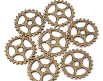 "Set of 5 connectors ""Serrated wheel"" • Bronze Vieilli• 1.5 cm"