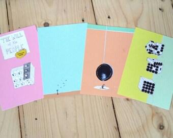 Melancholic art postcards 'Games of Losing Hope' (set of 4), artistic illustrations by PrettyPolitical
