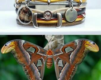 "Multicolor leather Cuff Bracelet ""Butterfly 2"""