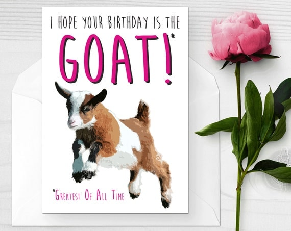 Baby Goat Birthday Card Funny Birthday Card I love Goats – Goat Birthday Card