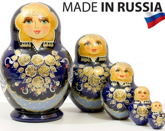 """Nesting Doll - """"Anastasia"""" - 5 dolls in 1 - MEDIUM SIZE - Blue Color - Hand-painted in Russia"""