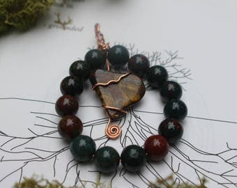 Of the Earth ~ tiger's eye and indian bloodstone wire wrapped pendant