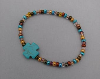 Beaded bracelet,cross bracelet,beaded cross bracelet,stretchy bracelet,religious bracelet,religious jewelry,womens bracelet,girls bracelet