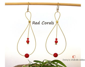 Red Coral Earrings, Sterling Silver Gold Filled Earrings, Gold Coral Earrings, Minimalist Earrings, Bridesmaid Gift, Dainty Earrings.