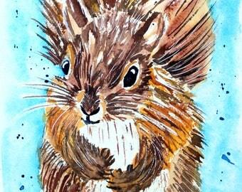 Earl the Squirrel Watercolor Print of Original Painting, Watercolor Squirrel painting, Squirrel  Painting