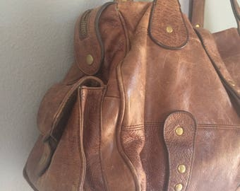 vintage leather bag, small duffle bag, cow leather, scuffed brown leather bag with pockets