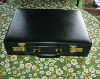 Vintage leather Files Koffermit pleats + numbers castle, black around 1975, very good condition