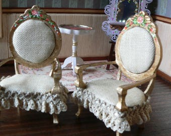 Chair Golden 1:12 miniature Doll House, chairs shabby chic, furniture for Dolls House