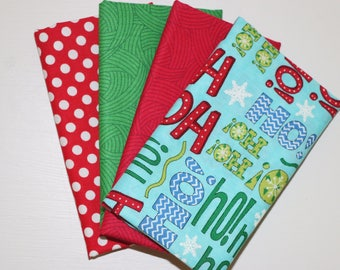 SALE - 4 Fat Quarters - Christmas - green, red, blue - cotton fabric