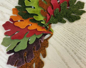 Hand-dyed Wool Oak Leaves -- BUNDLE of 10 leaves in assorted colors