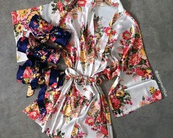 Bridesmaid robe,  Satin floral robes, Bridal party gift, Bridesmaid gifts, Bridesmaid robes, floral bridal robe, bridal robe (R002)