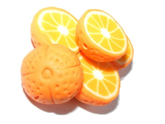 Demi-fruit citrus x 2 Navel Orange polymer clay beads