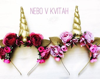 Gold unicorn horn Flower crown Floral headband Unicorn headband Kids headband Bride unicorn horn Bachelorette party