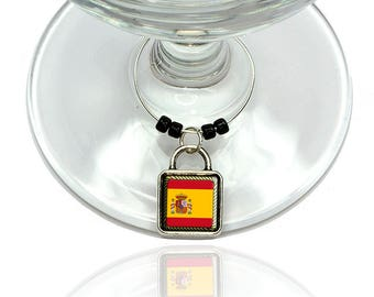 Flag Of Spain Wine Glass Drink Marker Charm Ring