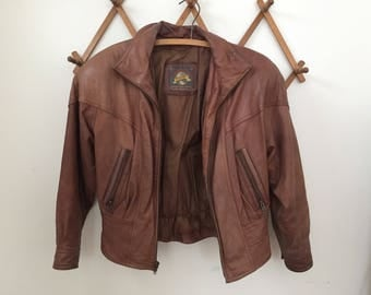 Vintage women's Wilsons brown leather bomber jacket