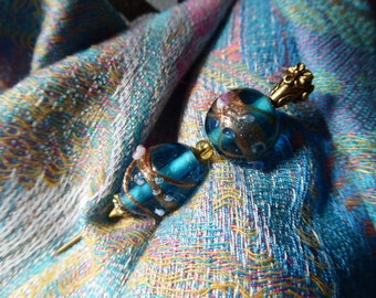 Victorian Murano Glass Hat Pin, Vintage Scarf Pin, Coloured Glass Antique Stick Pin 1217007-482