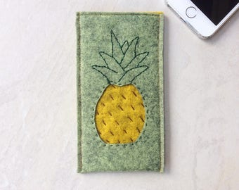 Felt phone case, iPhone cover 7, 6, 6S, wool felt cover, pineapple embroidery